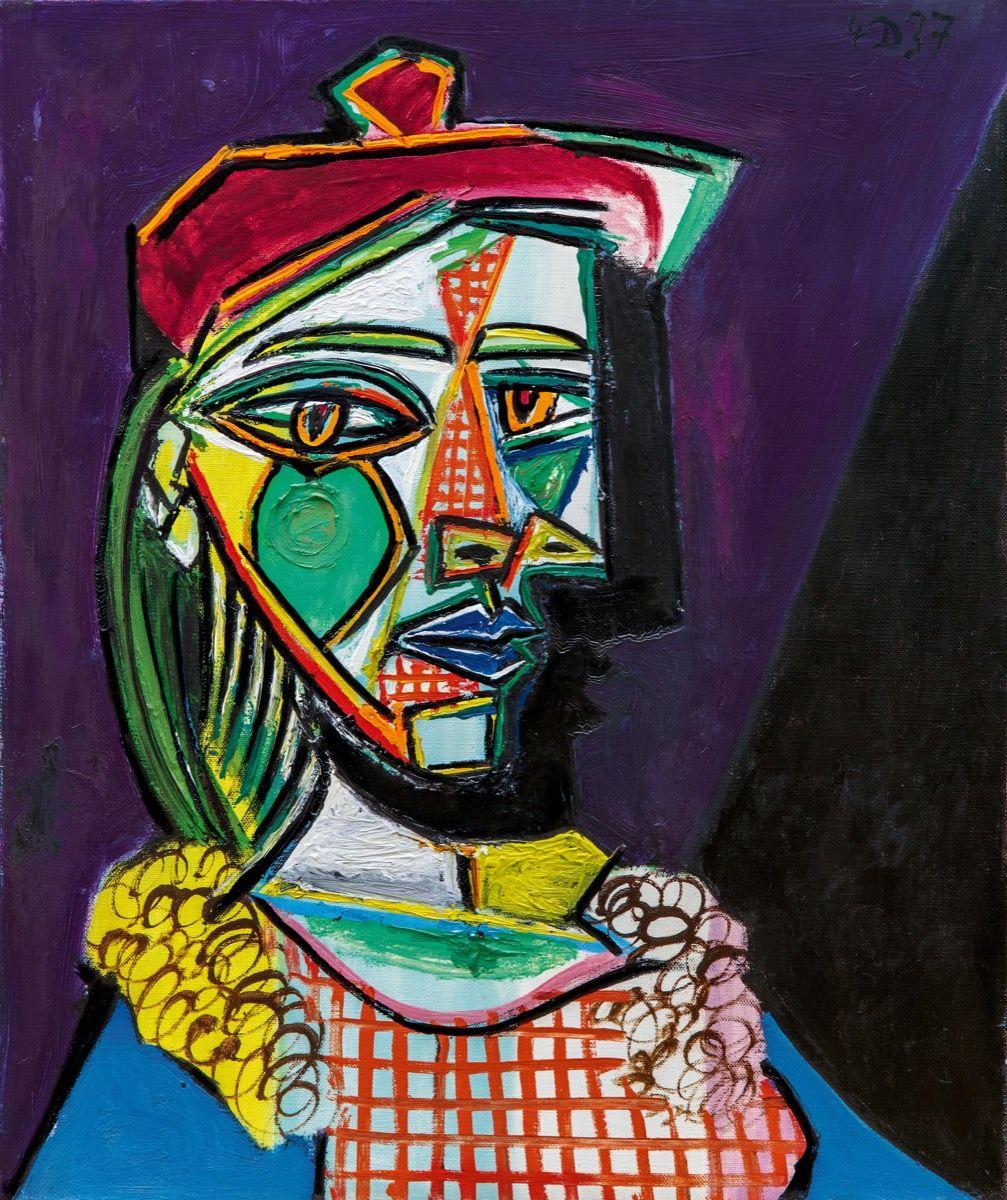 """Пабло Пикассо (Pablo Picasso), """"Женщина в берете и клетчатом платье (Мария Тереза Вальтер)"""" (Femme au béret et à la robe quadrillée (Marie-Thérèse Walter)"""