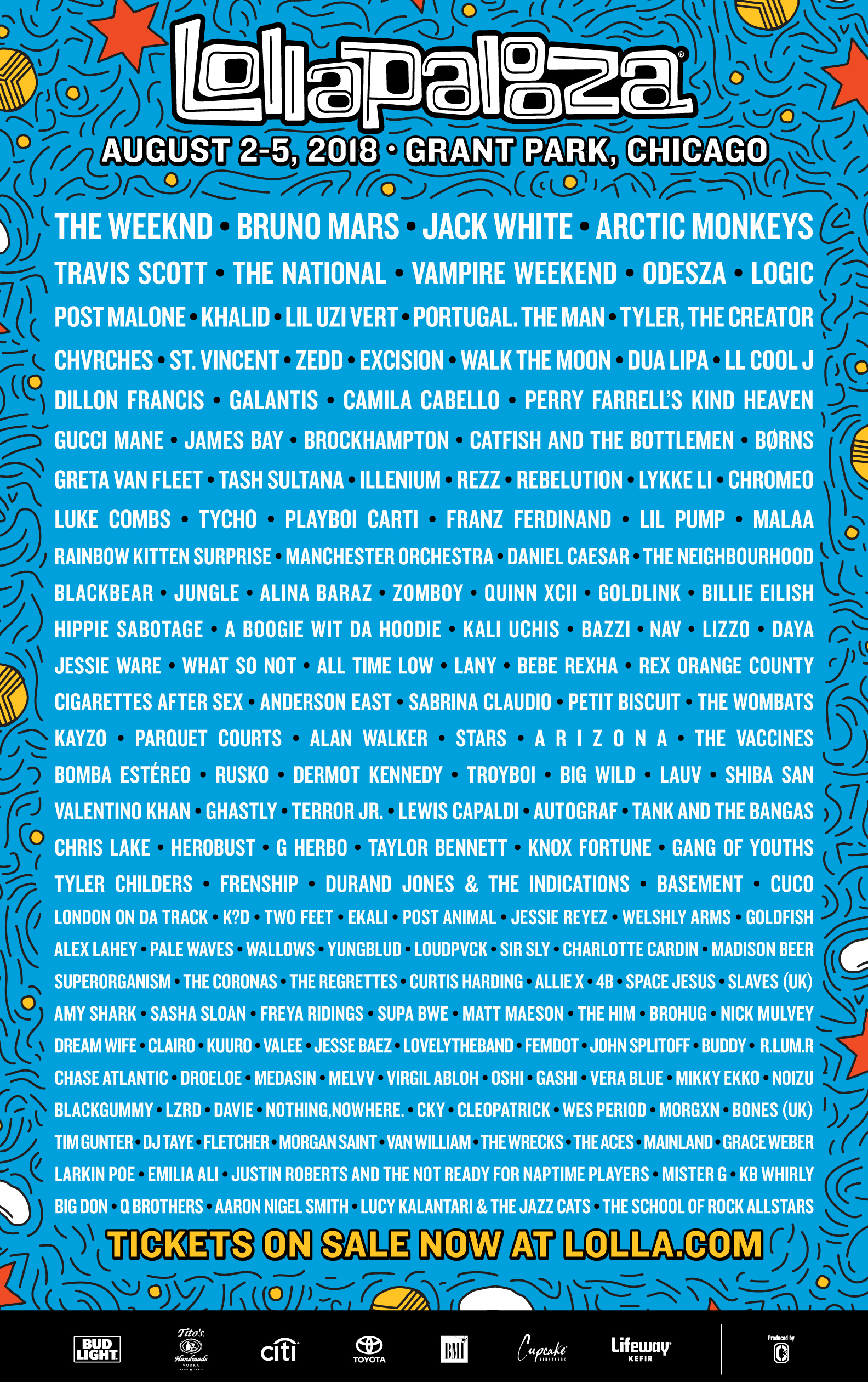 Lollapalooza 2018 Chicago line up